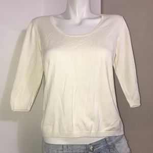 Ivory Mix Blend 3/4 Sleeves Scoop Neck CozySweater